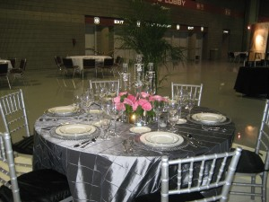 Silver Table with crystal and pink accents from Classic Party Rental