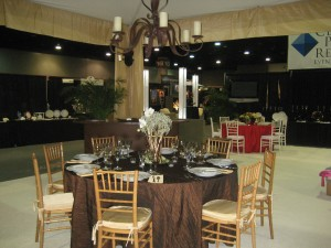 Fall table with wrought iron chandelier