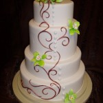 Fondant Wedding Cake with Copper Swirls and Green Orchids