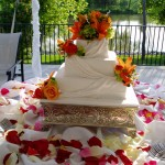Square Wedding Cake with Fresh Lilies