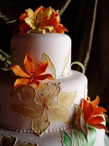 Wedding Cake with Orange Lilies