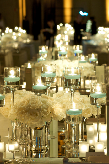 Blue and White Candle Centerpiece