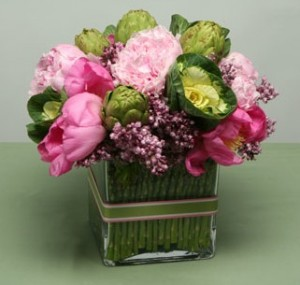 Spring Centerpiece with Asparagus and Artichokes