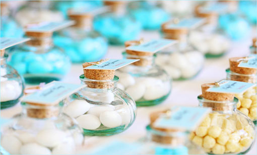 Bottled Candy Wedding Favors used as Escort Card Alternative