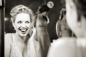 Photojournalistic shot of Smiling Bride