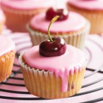 Simple cupcake with cherry on top