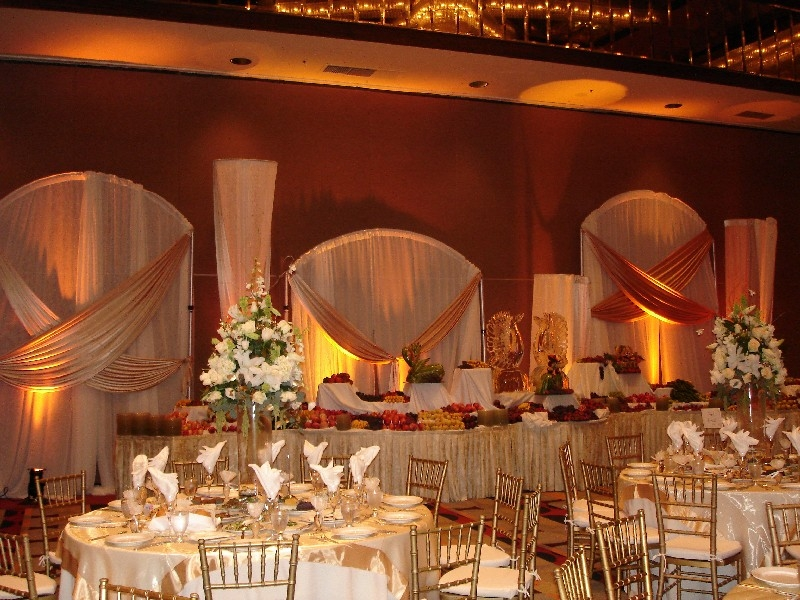 Warm Peach Event Lighting for a Wedding