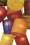 multicolored paper lanterns for wedding centerpiece
