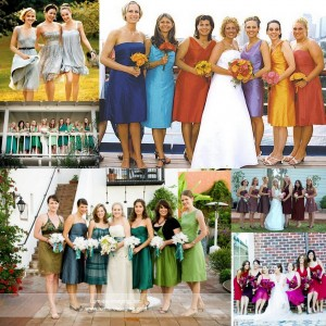 Bridesmaids in different color dresses