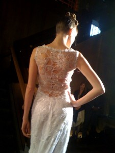 Claire Pettibone lace back wedding gown