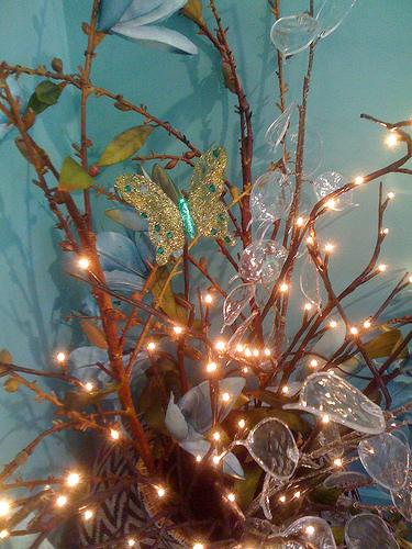 Centerpiece with lighted branches and butterfly