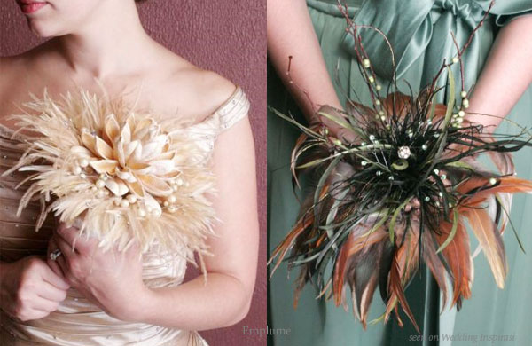 gold green wedding flower Fun Feathers for Your Wedding