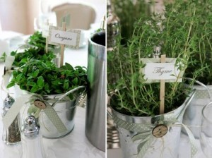 herb centerpiece with ribbon detail