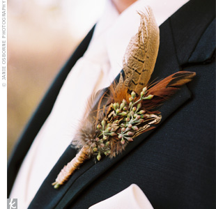 phesant bout with seeded Euc Fun Feathers for Your Wedding