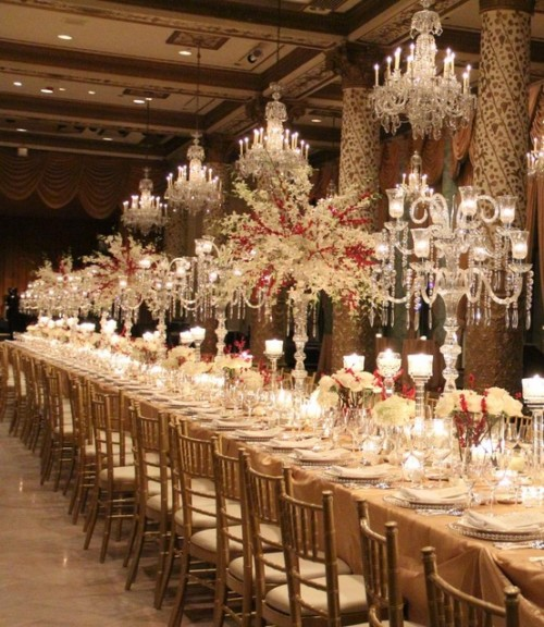 Crystal candleabra at Drake Hotel e1351518587717 5 Amazing Luxury Wedding Reception Centerpiece Looks to Inspire