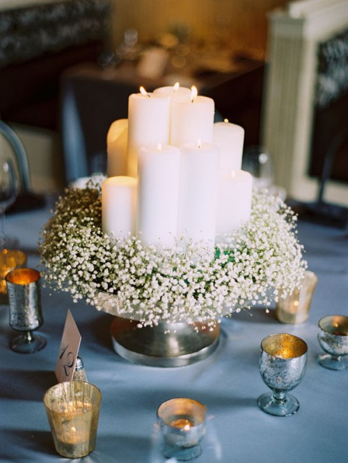 babys breath and candles e1351778444130 Winter Wedding Decor From Rustic to Bling