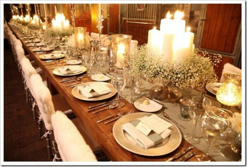 candle and babys breath tablescape1 e1351778663843 Winter Wedding Decor From Rustic to Bling
