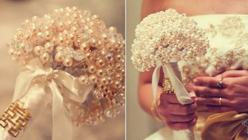pearls e1352212814588 5 Out of the Ordinary Wedding Bouquets