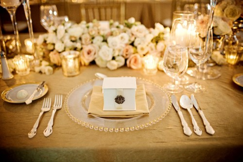 gold and cream table setting place setting wedding gold linens Glorious Gold and Ivory Wedding Design