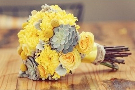 yellow and grey bouquet Sunshine in Your Hands: Sunny Yellow Wedding Bouquets