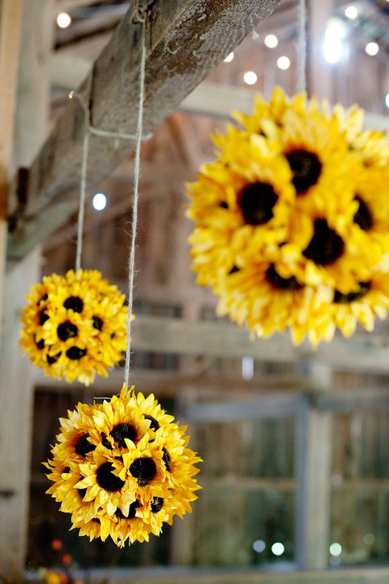 silk sunflower pomanders 5 Really Cute, Totally Do able DIY Wedding Projects