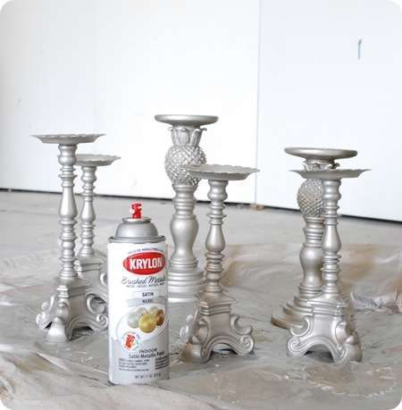 spray paint candlesticks 5 Really Cute, Totally Do able DIY Wedding Projects